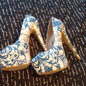 Blue and white floral high heels